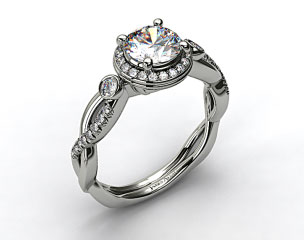 18K White Gold Floral Scallop Twisted Engagement Ring